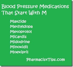 list of blood pressure medications that start with M